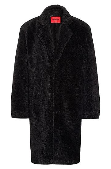 常规版型平驳领毛绒大衣,  001_Black