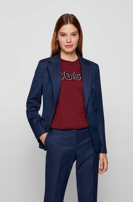 Regular-fit jacket in herringbone virgin wool, Dark Blue