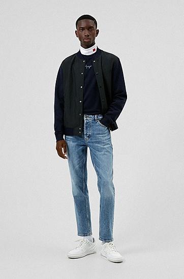 蓝色舒适弹力锥形牛仔裤,  430_Bright Blue