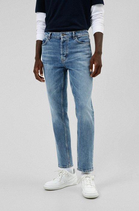 Tapered-fit jeans van blauw comfortabel stretchdenim, Blauw