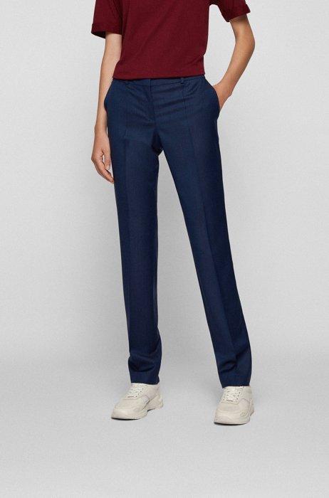 Regular-fit trousers in virgin wool with herringbone structure, Dark Blue