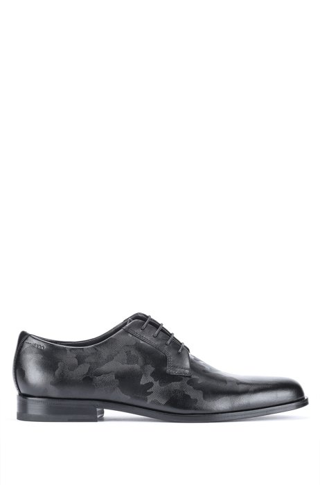 Derby shoes in camouflage-print leather, Black
