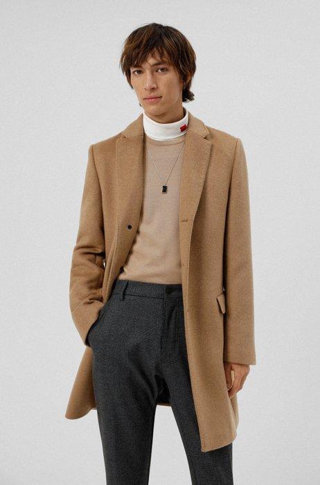 Slim-Fit Mantel aus Kamelhaar mit Drei-Knopf-Leiste, Beige