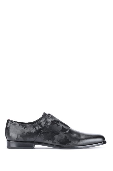 Monk shoes in leather with embossed camouflage print, Black