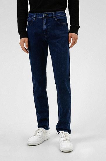 修身蓝色舒适弹力牛仔裤,  410_Navy