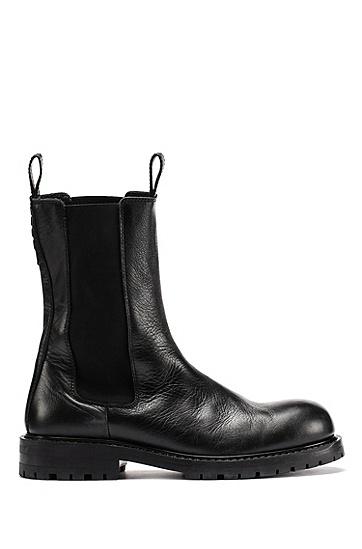 抛光皮革高筒切尔西靴,  001_Black