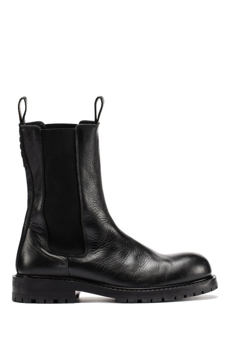 High-cut Chelsea boots in polished leather, Black