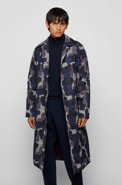 Camouflage-print coat with lightweight padding, Purple Patterned