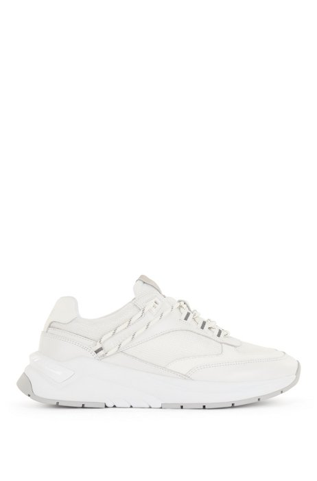 Running-inspired trainers in mixed materials, White