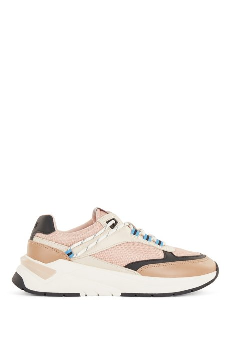 Running-inspired trainers in mixed materials, Light Beige