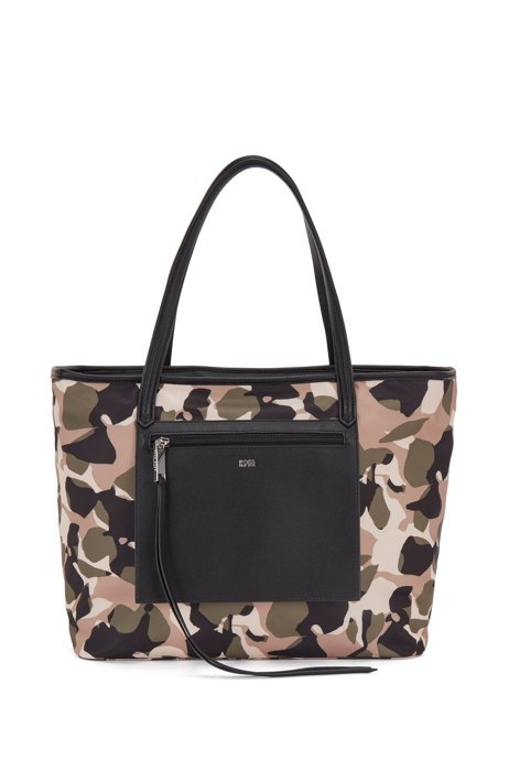 Shopper bag in recycled nylon with floral camouflage print, Patterned