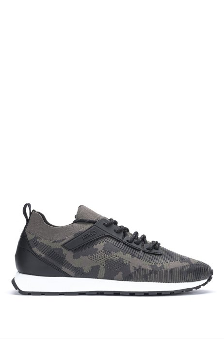 Camouflage-knit sock trainers with REPREVE®, Dark Grey