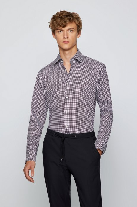 Regular-fit shirt in performance patterned cotton, Purple