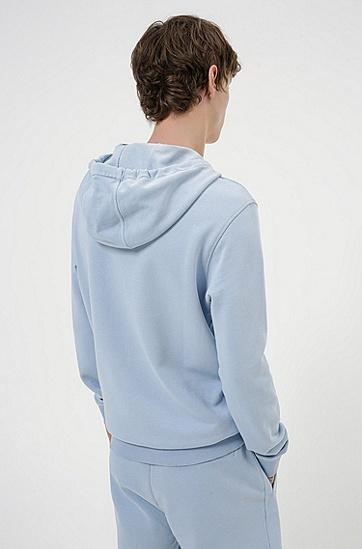 红色徽标标签棉质连帽运动衫,  455_Light/Pastel Blue