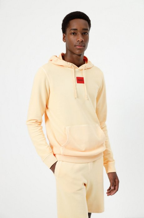 Hooded sweatshirt in cotton with red logo label, Orange