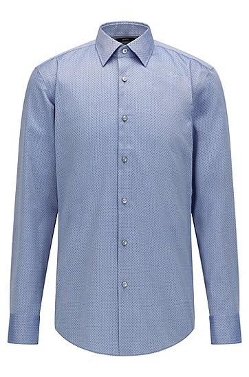 人字纹抗皱棉修身衬衫,  420_Medium Blue