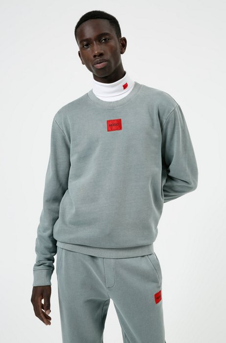 French-terry cotton sweatshirt with red logo label, Light Blue