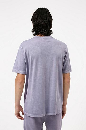 红色徽标标签成衣染色棉质 T 恤,  688_Light/Pastel Pink