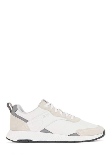 Low-top trainers in nappa leather and suede, White