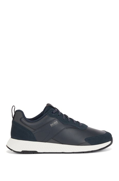 Low-top trainers in nappa leather and suede, Dark Blue