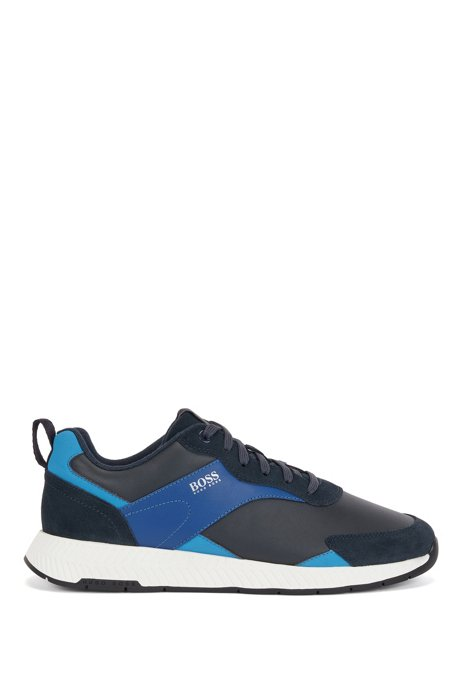 Low-top trainers in nappa leather and suede, Light Blue