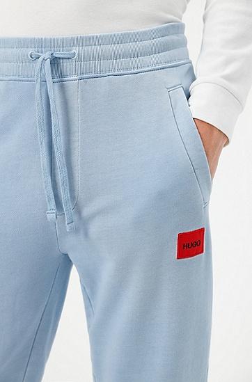 红色徽标标签棉质毛圈布运动裤,  455_Light/Pastel Blue