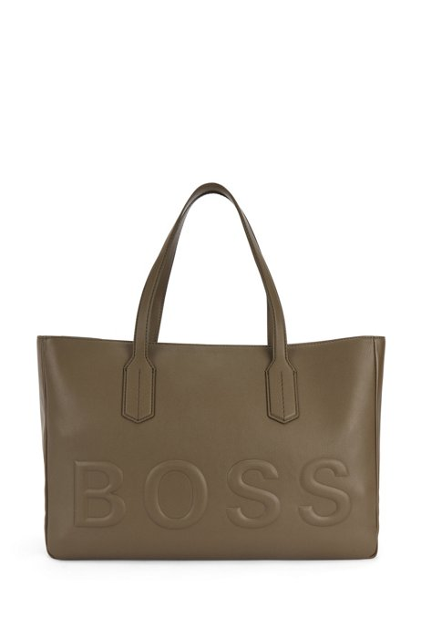 Tote Bag aus Kunstleder mit tonalem Logo, Khaki