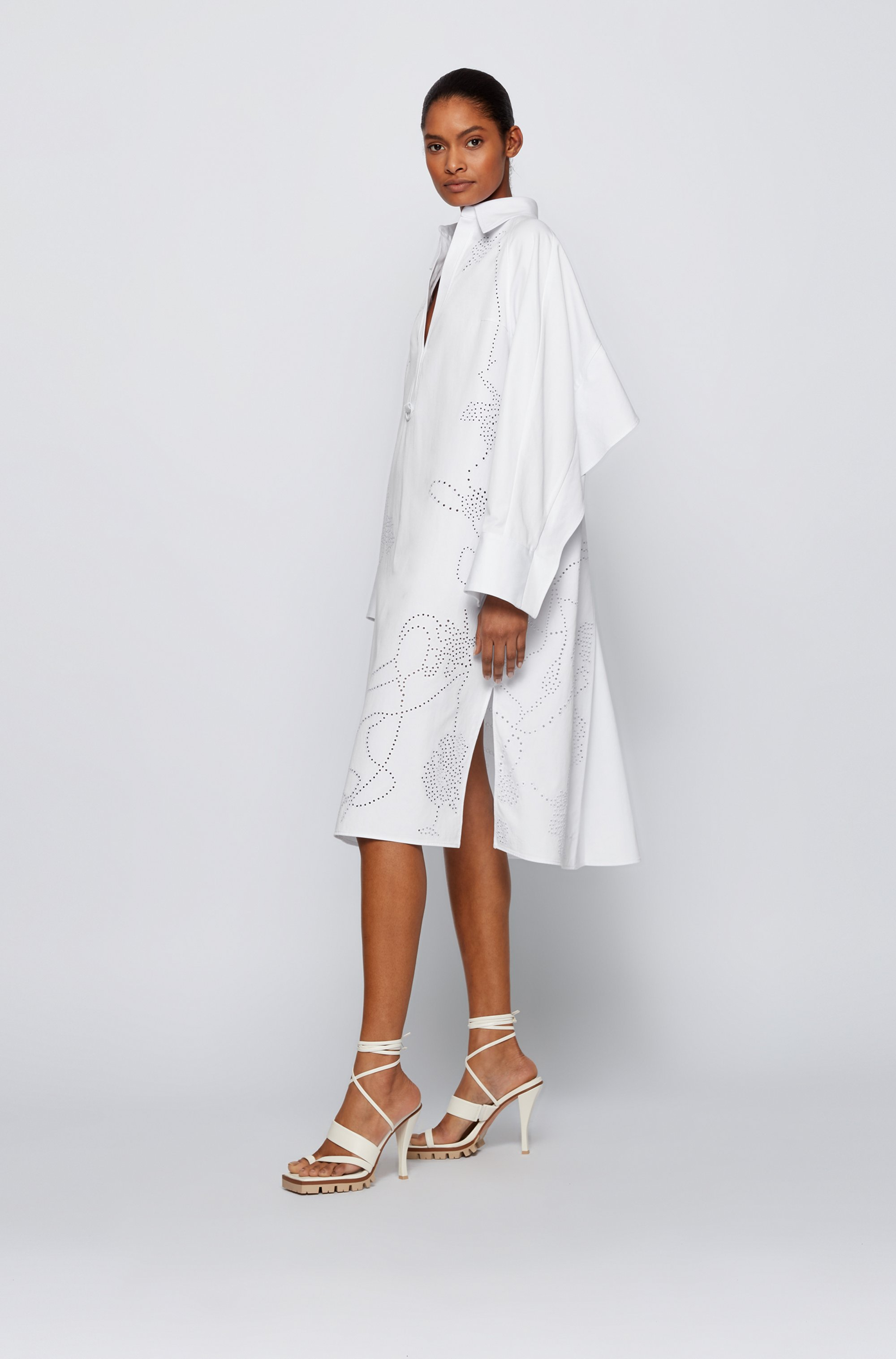 Relaxed-fit shirt dress with deep side slits