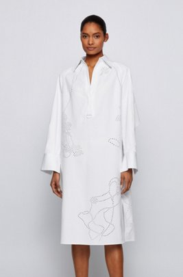 Relaxed-fit shirt dress with deep side slits, White