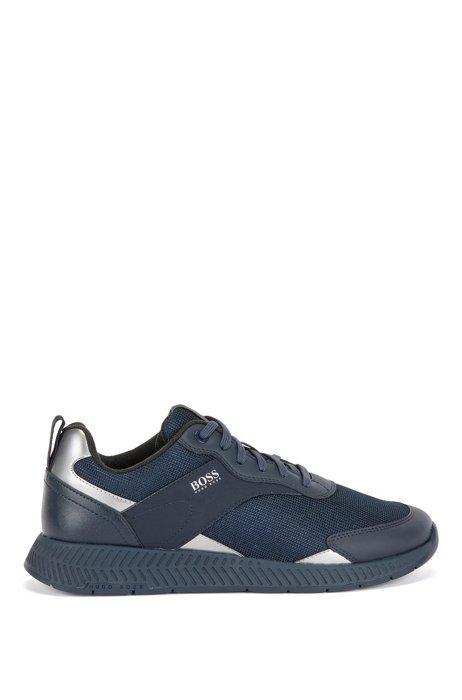 Deportivas de correr con malla y detalles de goma, Azul oscuro