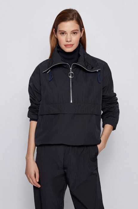 Relaxed-fit jacket with funnel neckline and front pocket, Dark Blue