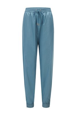 Relaxed-fit trousers with cuffed hems and elasticised waist, Light Blue