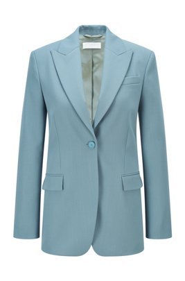 Relaxed-fit jacket in Italian virgin wool, Light Blue