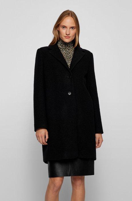Regular-Fit Mantel aus schwerem Woll-Mix, Schwarz