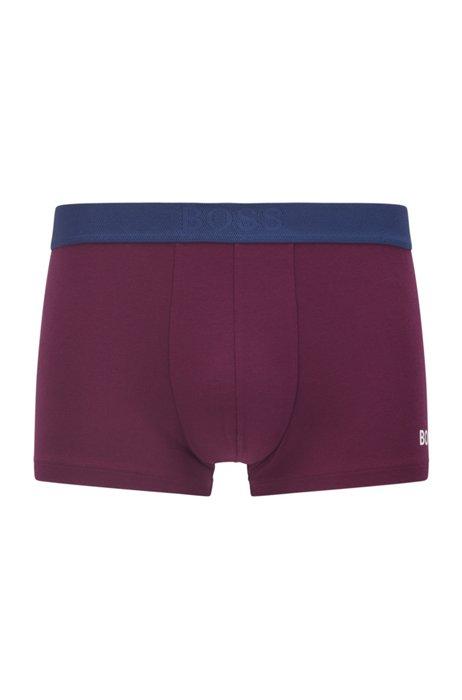 Logo trunks in cotton, modal and stretch, Dark Purple
