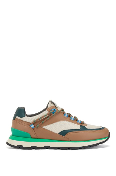 Hybrid trainers with hiking-style lacing system, Beige
