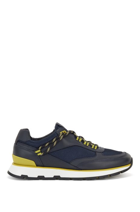 Hybrid trainers with hiking-style lacing system, Dark Blue