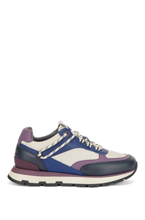 Hybrid trainers with hiking-style lacing system, Purple Patterned
