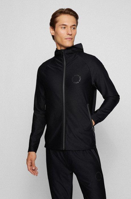 Sweat Regular Fit zippé à logo circulaire, Noir