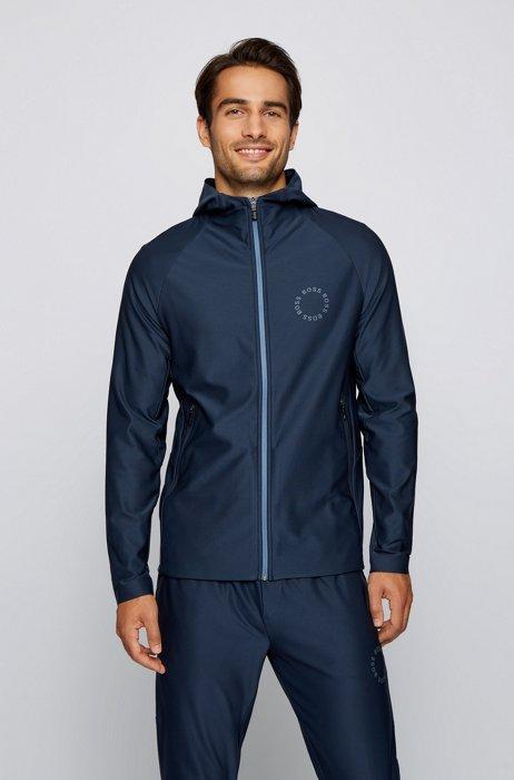 Sweat Regular Fit zippé à logo circulaire, Bleu foncé