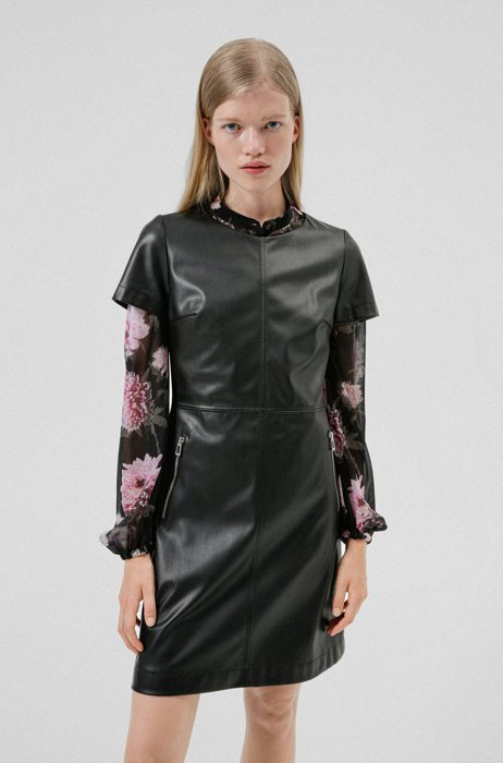 Faux-leather dress with exposed zip pockets, Black