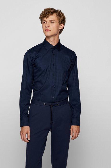 Chemise Slim Fit en jacquard de coton italien à logos ton sur ton, Bleu foncé
