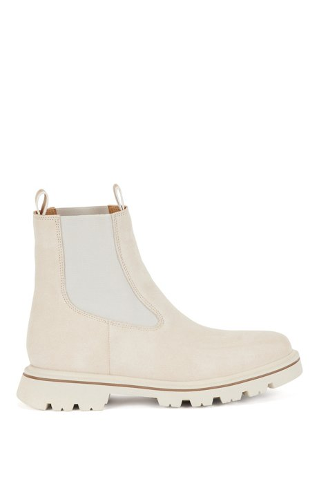 Suede Chelsea boots with seasonal loops and contrast welt, Light Beige