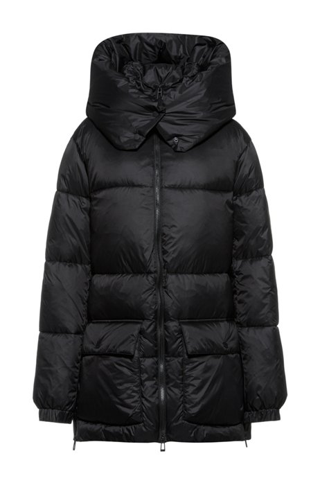 Relaxed-fit padded parka jacket in recycled fabric, Black