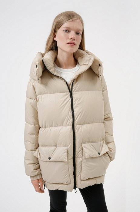 Relaxed-fit padded parka jacket in recycled fabric, Light Beige
