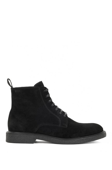Half boots in suede with embossed logo, Black