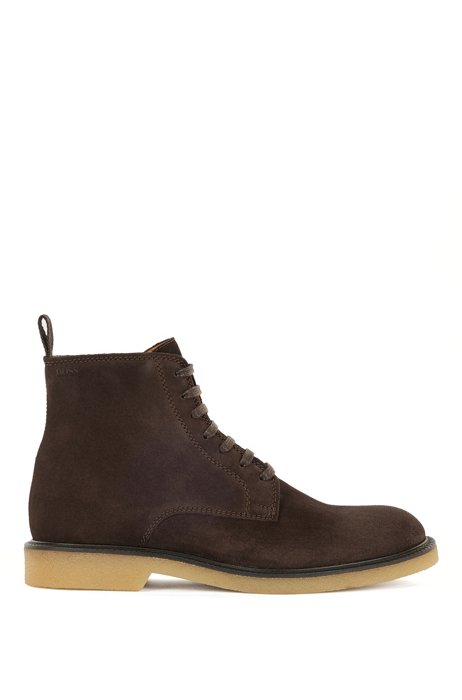 Half boots in suede with embossed logo, Dark Brown