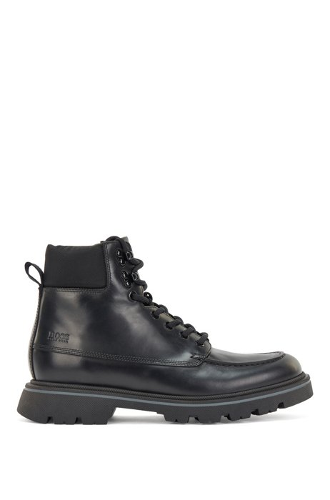 Lace-up leather boots with embossed logo, Black