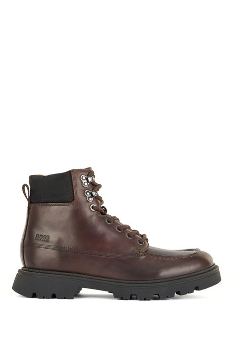 Lace-up leather boots with embossed logo, Dark Brown