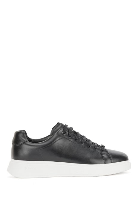 Nappa-leather trainers with branded lace loop, Black